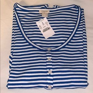 J. Crew Navy Blue & White Stripe Henley Shirt NWT